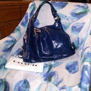 Coach Madison Maggie patent blue bag #13900 EUC